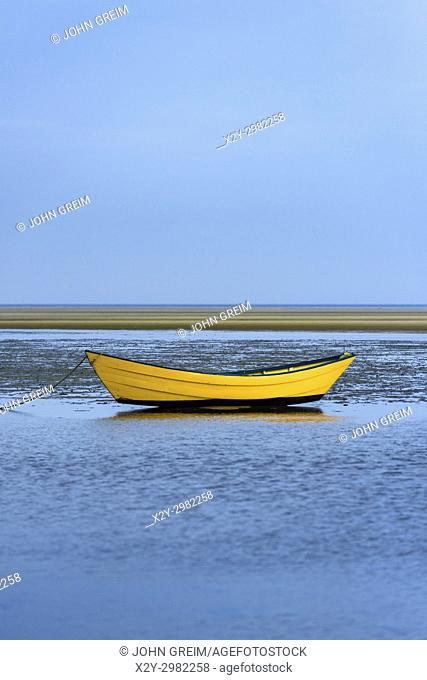 Lone dory on a overcast morning, Brewster, Cape Cod, Massachusetts, USA
