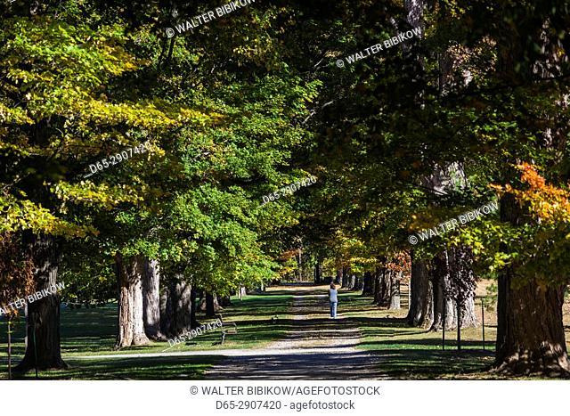 USA, New York, Hudson Valley, Hyde Park, FDR National Historic Site, former home of US President Franklin D, Roosevelt, grounds, autumn