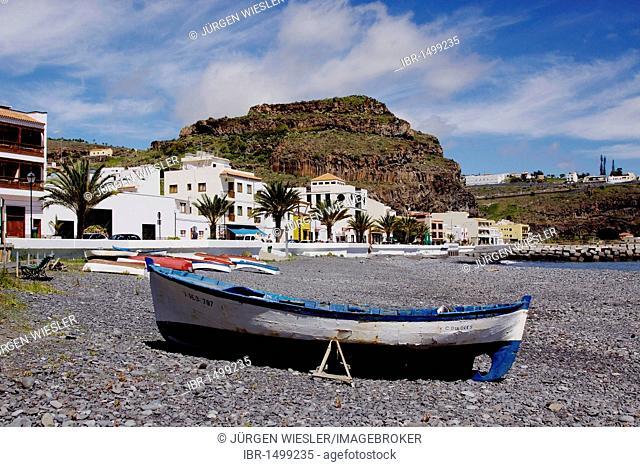 Old fishing boat on the beach of Playa de Santiago, La Gomera, Canary Islands, Spain, Europe