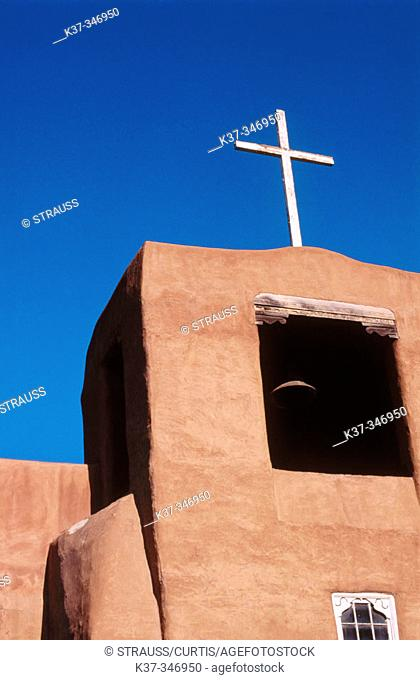 Adobe chapel built by Tlaxcala Indians. Oldest Mission Church in the USA. Santa Fe. New Mexico. USA