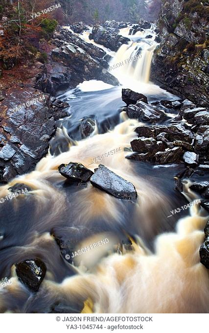 Scotland, Scottish Highlands, Rogie Waterfalls  A cascade of Peat coloured water at Rogie Falls, near Contin
