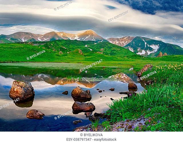 Mountain landscape at Paramushir Island, Kuril Islands, Russia
