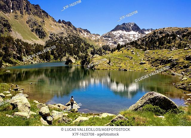 Estany Long,Colomèrs cirque,Aran Valley, Aigüestortes and Estany de Sant Maurici National Park,Pyrenees, Lleida province, Catalonia, Spain