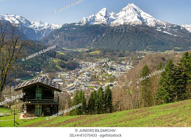 Berchtesgaden with the Watzmann massif in the background seen from the Marxenhoehe, Berchtesgadener Land, Upper Bavaria, Bavaria