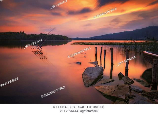 Sunset on Lake Pusiano from Garbagnate Rota, Como and Lecco province, Brianza, Lombardy, Italy, Europe