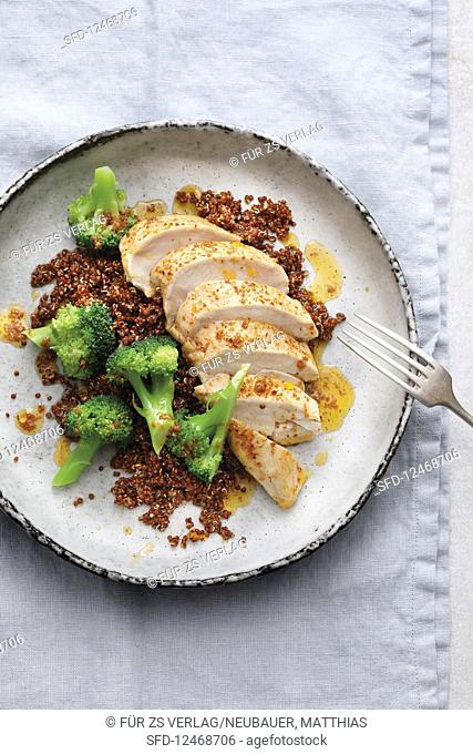 Chicken breast with broccoli and orange quinoa