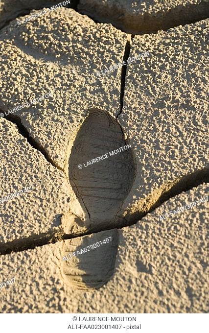 Cracked dry soil with shoeprint, full frame