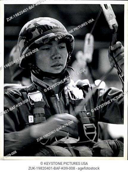 Apr. 01, 1982 - The Japanese self defense force has one Airborne Brigade, the first Airborne Brigade, stationed at camp Narashino near Narita Airport Norbi of...