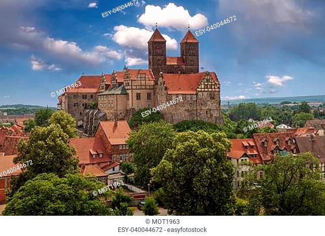 Castle and Collegiate Church of St. Servatius on the Schlossberg, Quedlinburg, Saxony-Anhalt, Germany, Europe