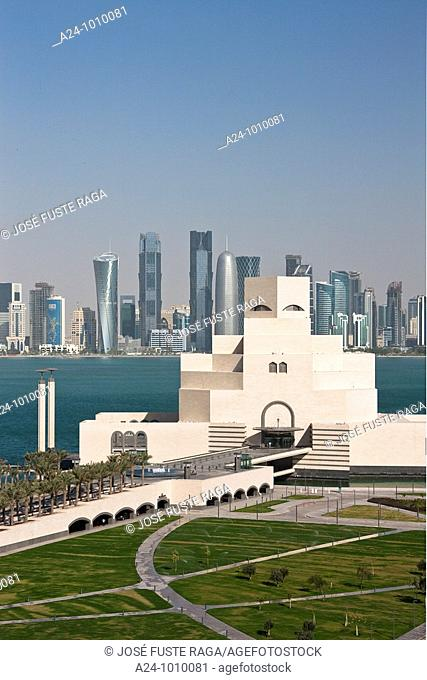 Museum of Islamic Art and Corniche skyline, Doha, Qatar