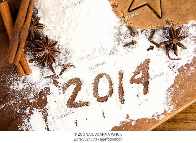 The inscription on the flour: 2014