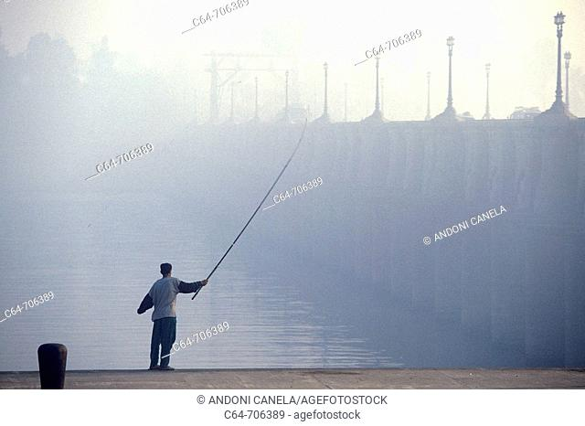 Young man fishing. Nile Delta. Egypt