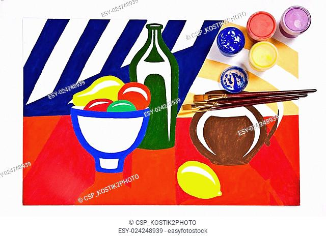 Bottles with gouache paints and brushes for artistic paintings