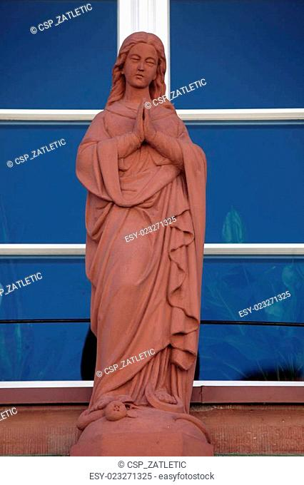 Statue of Virgin Mary, Main street of Miltenberg in Lower Franconia, Bavaria Germany
