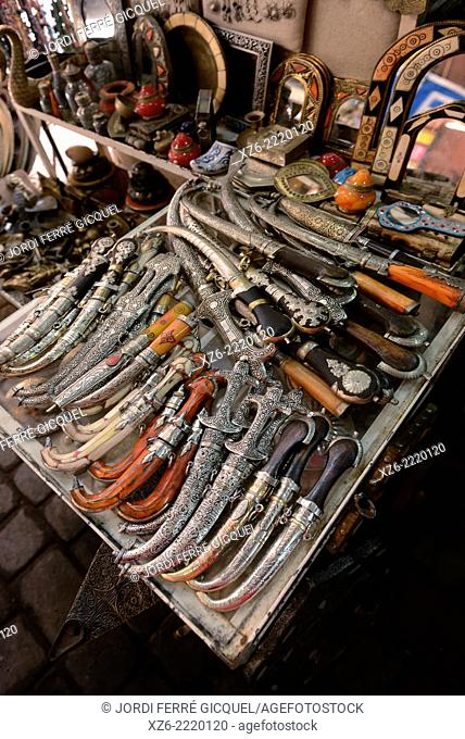 A lot of daggers at shop in Medina's souk, Marrakech, Morocco, Africa