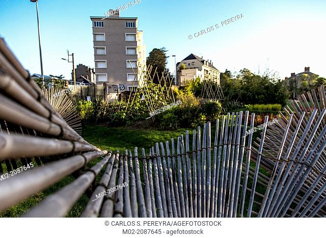 """""""""""""""""""""""La Vague de nuage verte"""""""" by Kinya Maruyama at Botanical Garden Jardin des Plantes in Nantes, Pays de la Loire, France, Europe."""