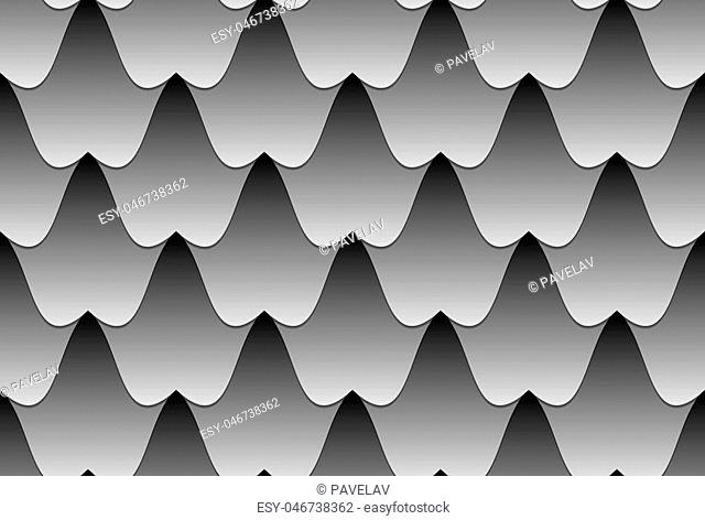 Black white seamless vector pattern of wavy tilesIllustration of the sea with strong waves or caves with stalactites