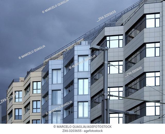 Building's façade. Esplugues de Llobregat city. Barcelona Metropolitan Area, Catalonia, Spain