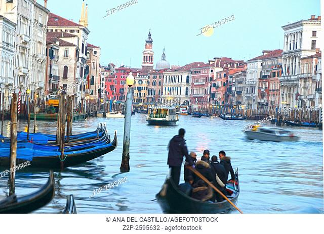 Opening Carnival procession on the Canal on January 23, 2016 in Venice Italy