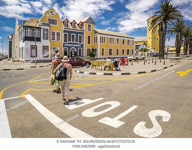 Tourists crossing the street in Walvis Bay, Namibia, Africa