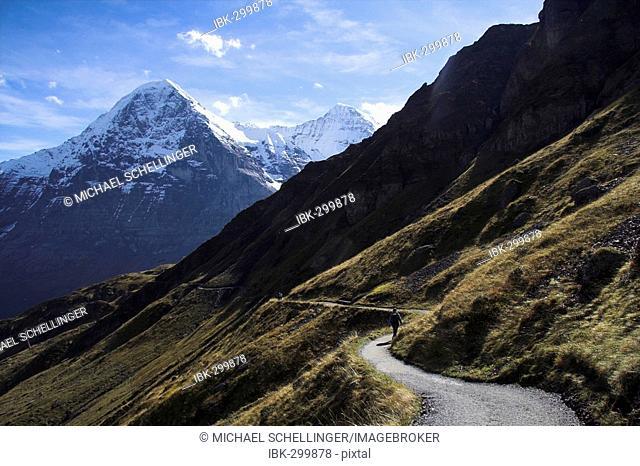 Mountain trail from First toward Kleine Scheidegg, behind the north face of the Eiger /canton Berne/Switzerland