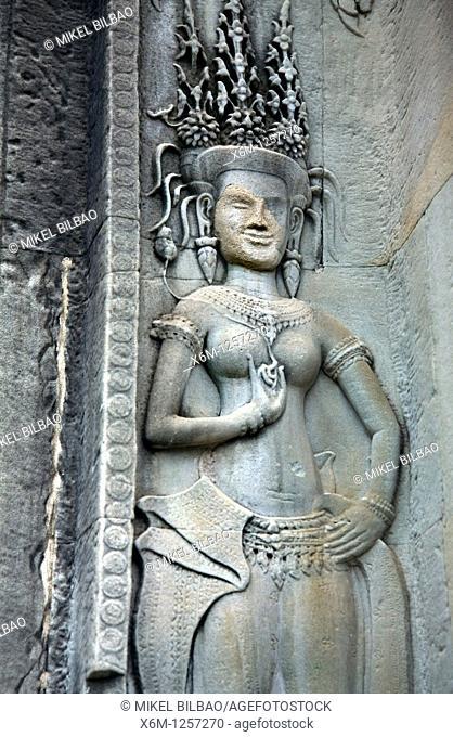 Apsara celestial dancer sculpted  Angkor Wat temple  Cambodia, Asia
