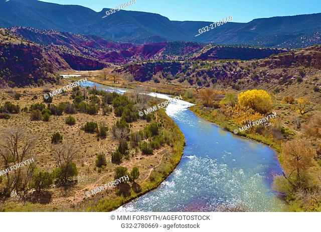 Chama river, northern New Mexico, in Autumn. The river is quite important to local agriculture as well as recreation