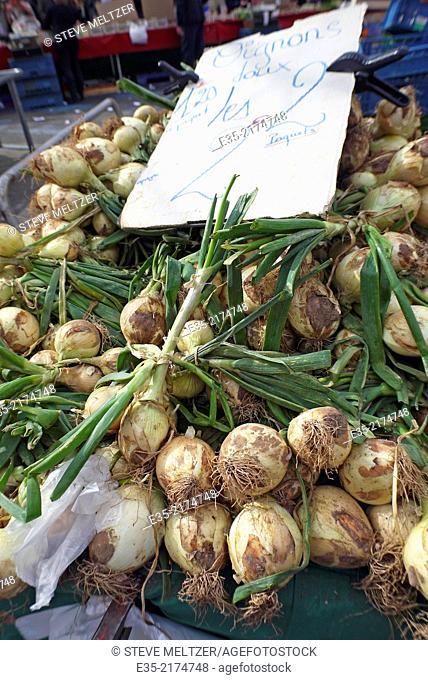 Freshly picked and dirty onions at a market