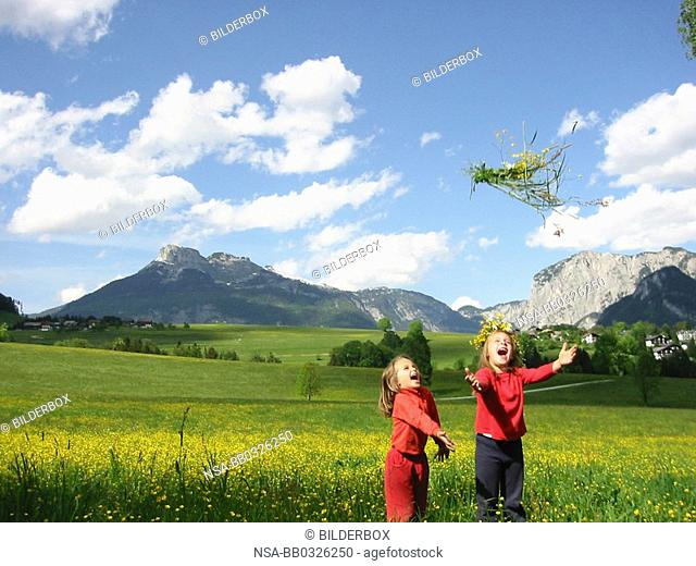 children in the open countryside