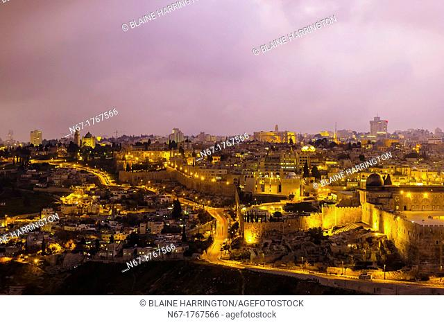 Old City Walls at twilight, Jerusalem, Israel