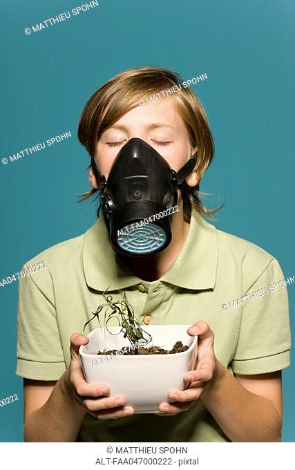 Boy wearing gas mask, holding wilted potted plant