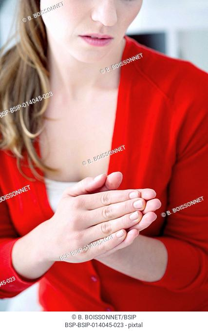 Woman with painful hand