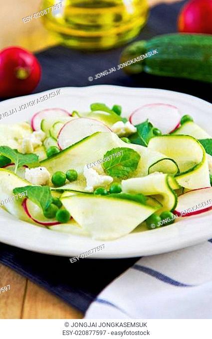 Zucchini with Pea and Feta salad