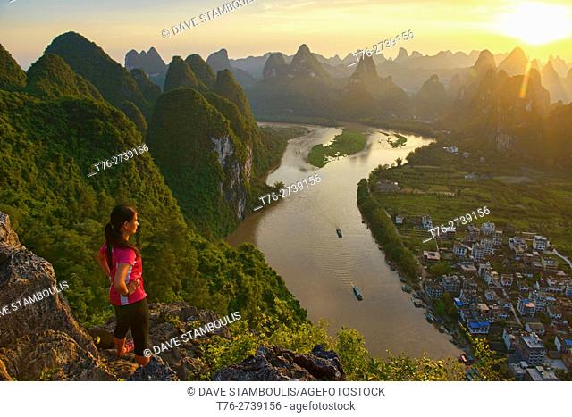 Sunset over hundreds of mountains, Xingping, Guangxi Autonomous Region, China
