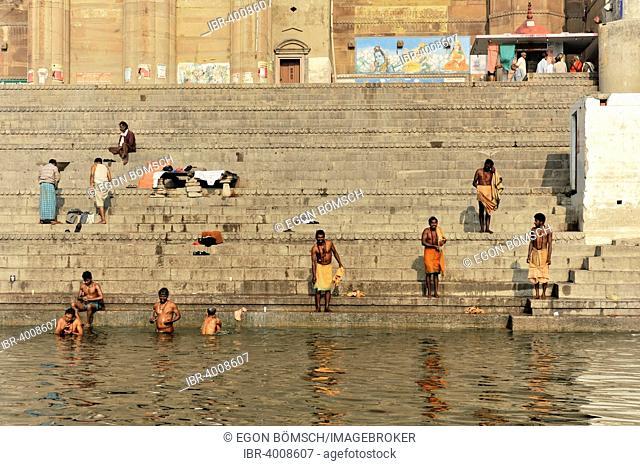 Devotees in ritual ablutions on the banks of the Ganges, Varanasi, Benares, Uttar Pradesh, India