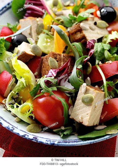Smoked tofu salad