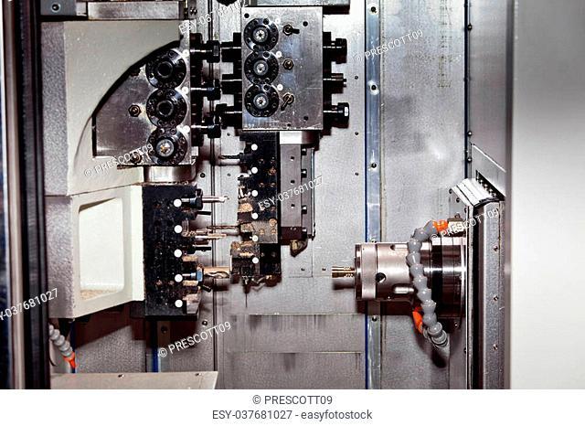 Milling machine close up. CNC details