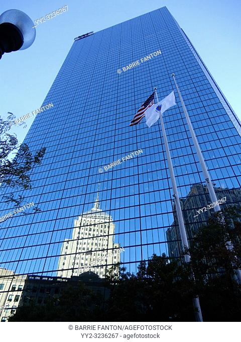 Berkeley Building (Old John Hancock Building) Reflected in 200 Clarendon Building (formerly known as the New John Hancock Tower), Boston, Massachusetts, USA
