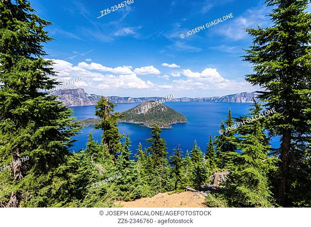 View of Wizard Island framed by pine trees. Crater Lake National Park, Oregon, United States