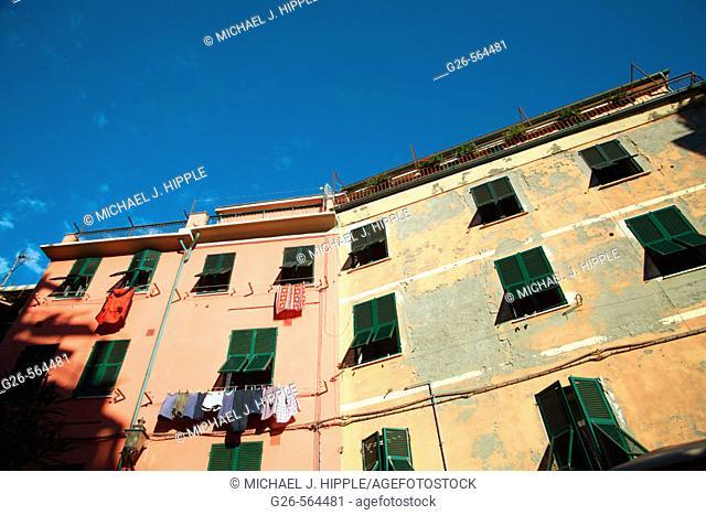 Buildings around Main Square. Vernazza. Cinque Terre, Liguria. Italy