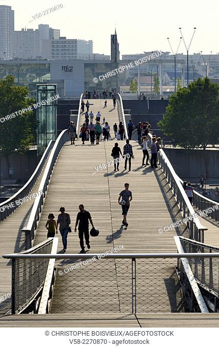 France, Paris, Banks of the Seine, Simone de Beauvoir footbridge