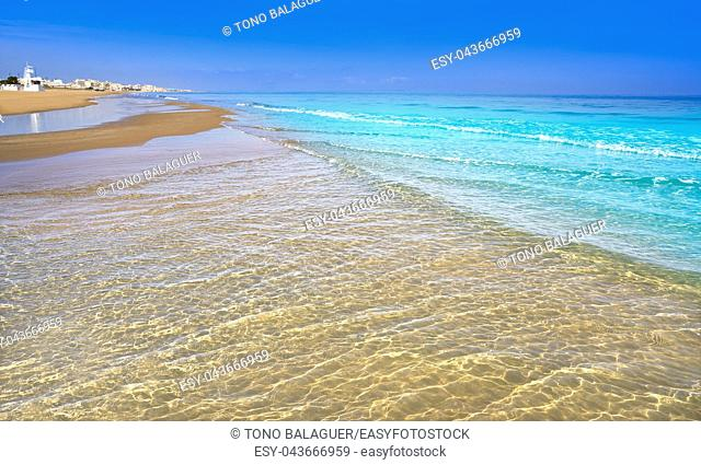 Playa de la Mata beach in Torrevieja of Alicante in Spain at Costa Blanca