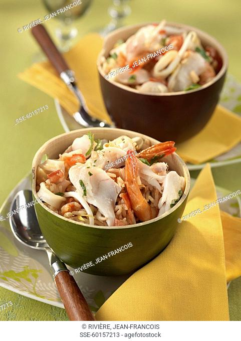 Sauteed rice with cod