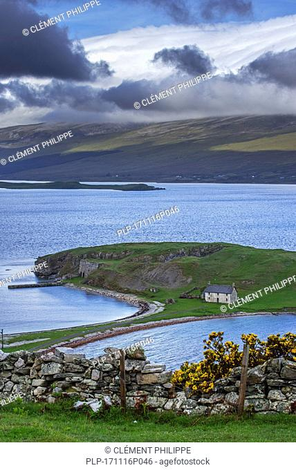 The old Ferry House and lime kilns at Ard Neakie in Loch Eriboll, Scottish Highlands, Sutherland, Scotland, UK
