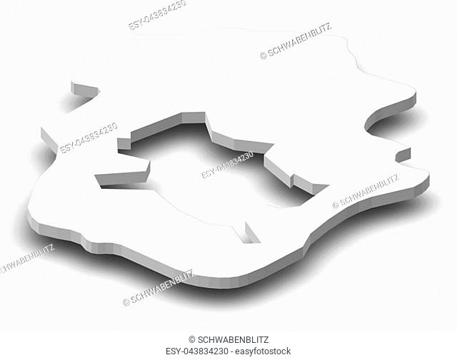 Map of Ilfov, a province of Romania, as a gray piece with shadow