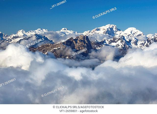 Europe, Italy, Veneto, Belluno, Agordino. View of the Sasso Bianco and the plateau of the Pale di San Martino, Dolomites