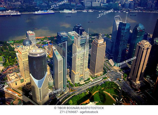 China, Shanghai, Pudong, business district, aerial view,