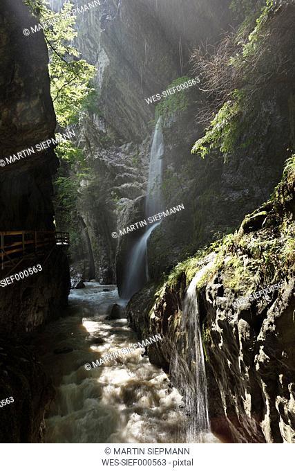 Austria, Vorarlberg, Bregenzwald, Dornbirn, Alplochschlucht, Alploch gorge, View of waterfall