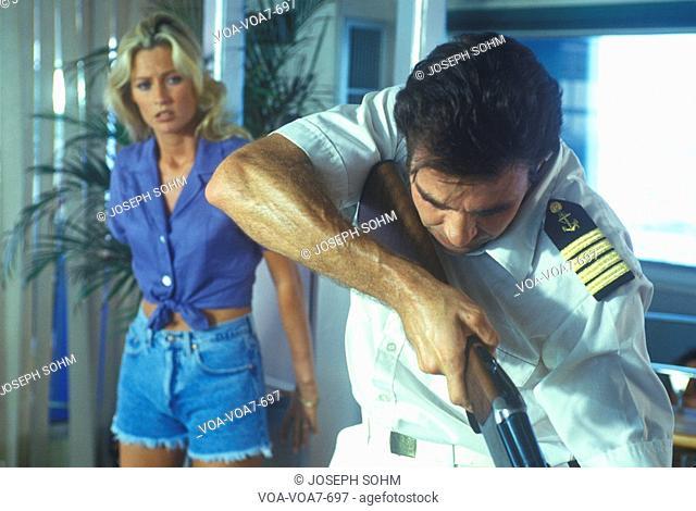 Unit photography of set of 'Temptation' during gun scene, Miami, FL