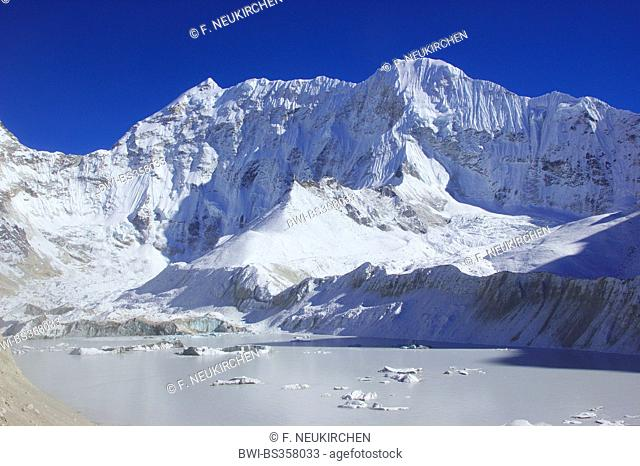 lake Imja Tsho near Island Peak Base Camo and Baruntse, Nepal, Himalaya, Khumbu Himal